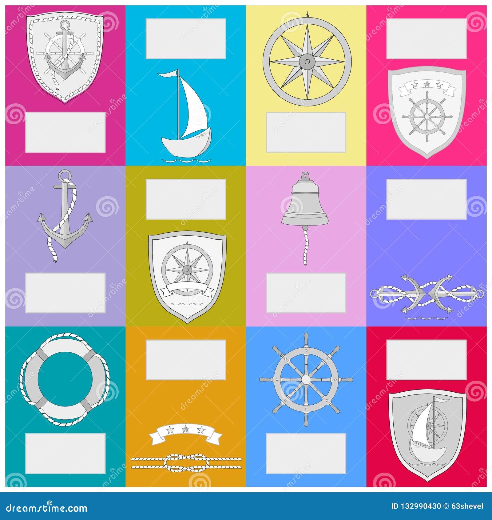 Kalender mit Seesymbolen Fahne des neuen Jahres