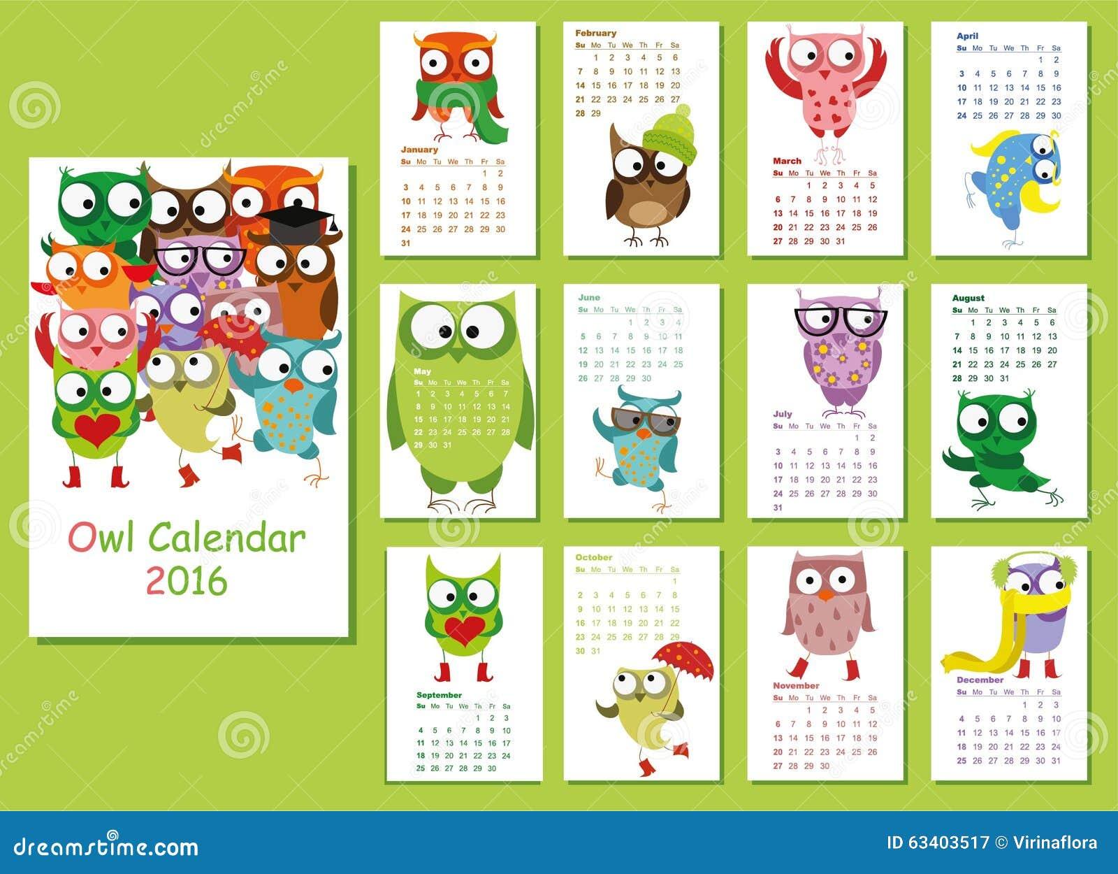 Kalender 2016 Nette Eulen Für Jeden Monat Vektor Abbildung ...