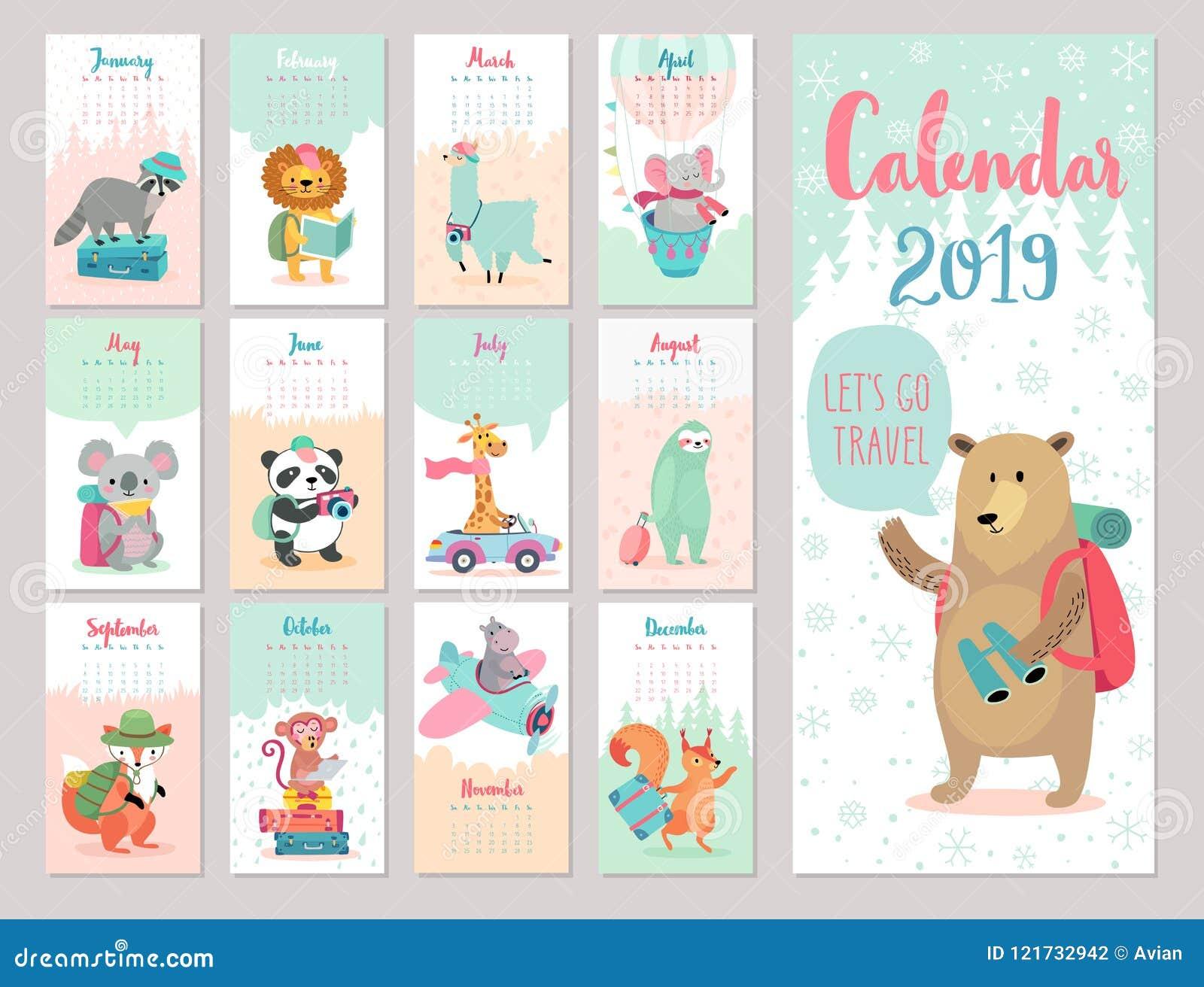 Kalender 2019 Netter Monatskalender mit Waldtieren