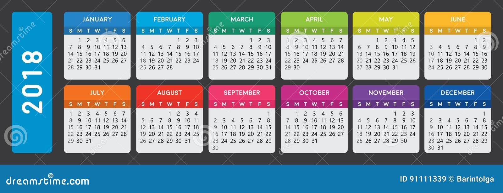 Kalender 2018 på mörk bakgrund