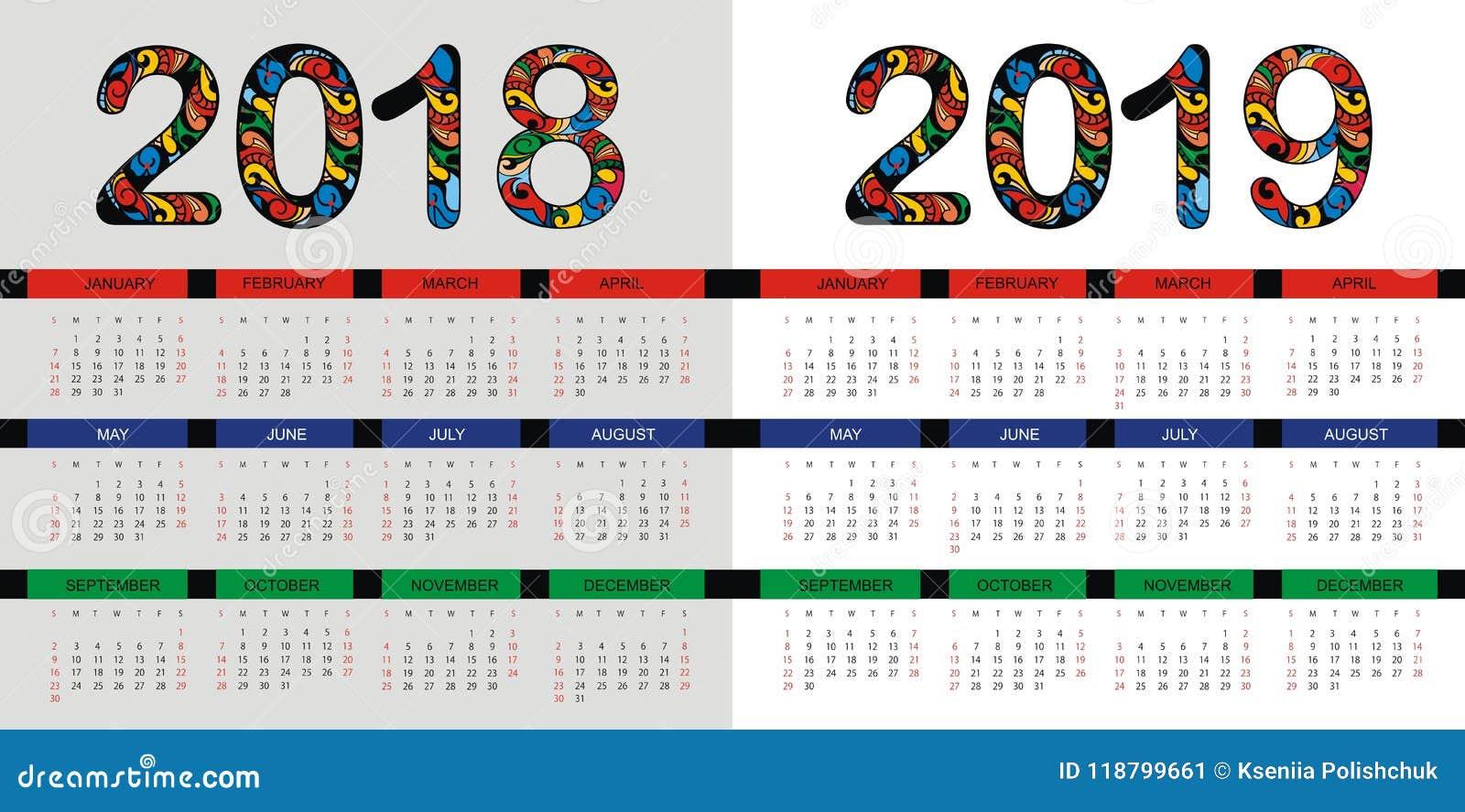 kalender plan f r 2018 und 2019 jahre vektordesign vektor abbildung illustration von februar. Black Bedroom Furniture Sets. Home Design Ideas