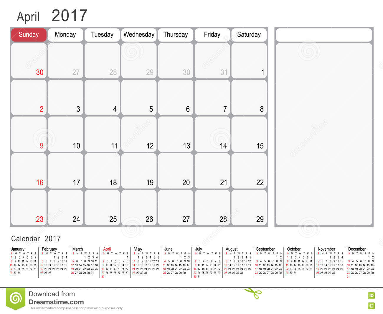 kalender planer im april 2017 vektor abbildung bild 82241591. Black Bedroom Furniture Sets. Home Design Ideas