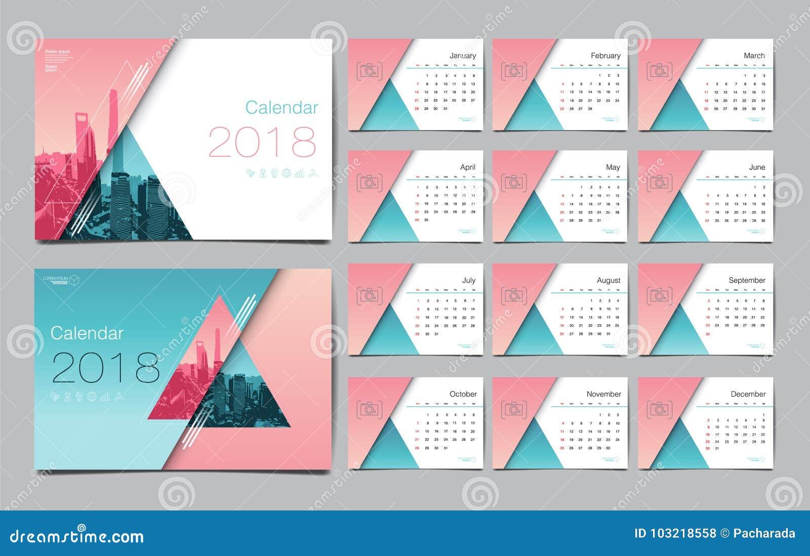 Kalender-Schablone für 2018-jähriges Vektor-Entwurf, Geschäft