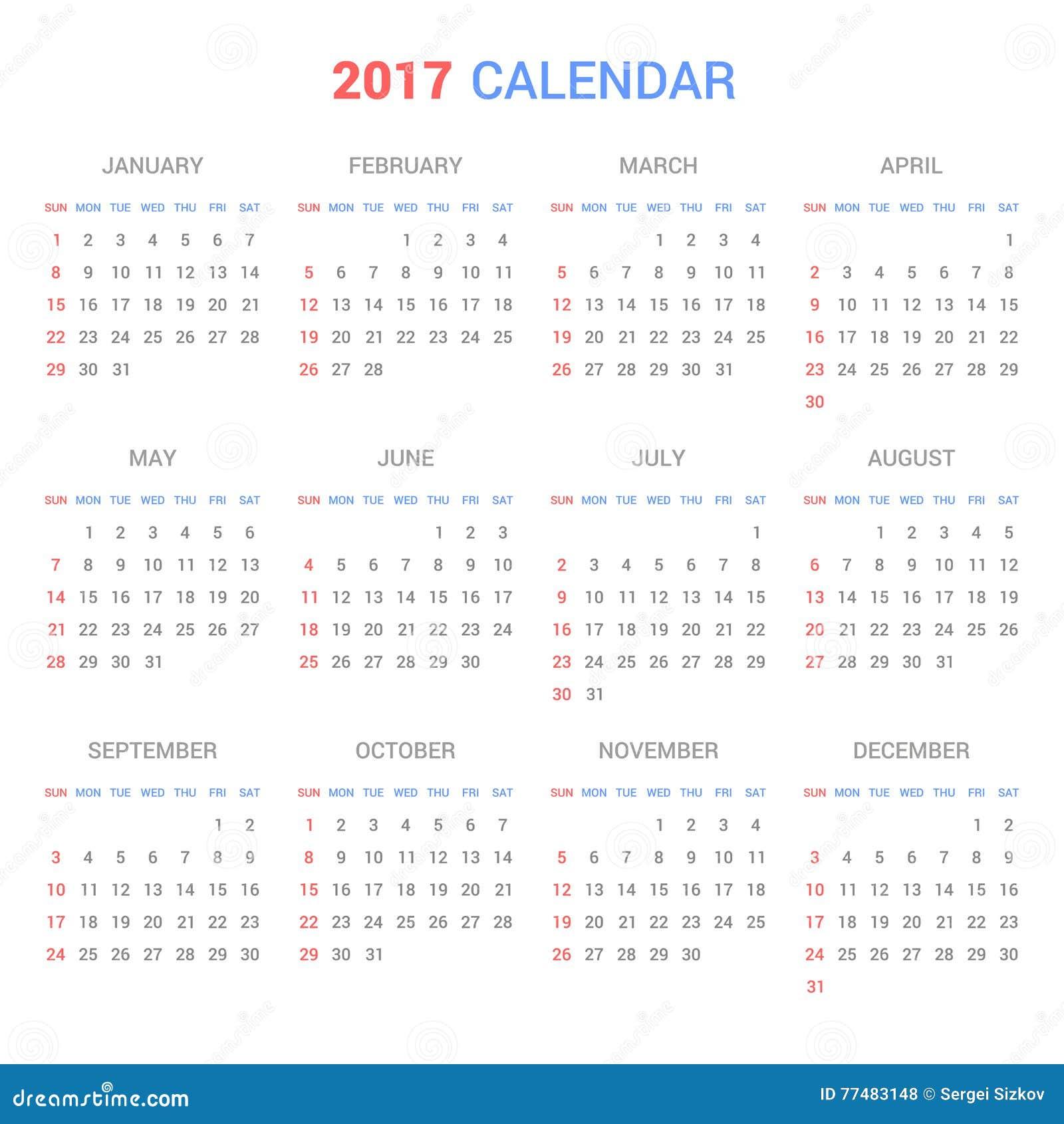 Kalender-Schablone für 2017