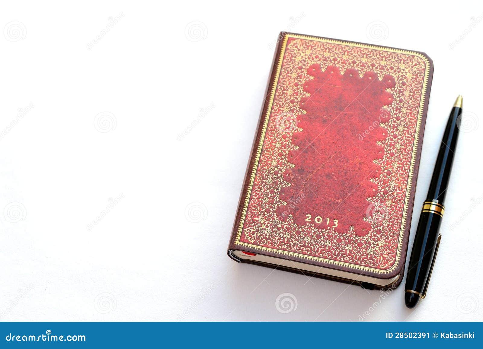 kalender und notizbuch des luxus 2013 mit einem stift stockbild bild 28502391. Black Bedroom Furniture Sets. Home Design Ideas