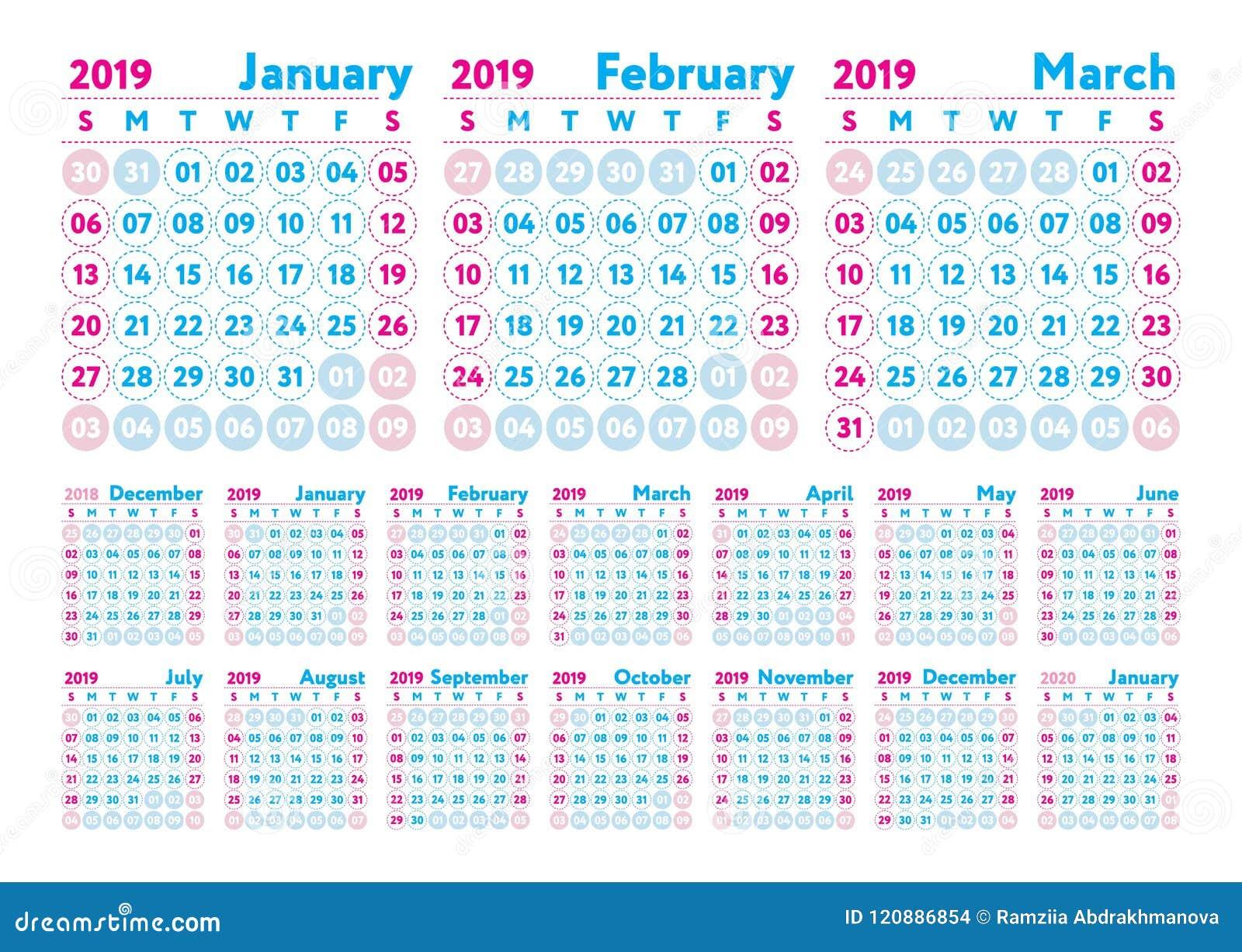 Kalender 2019 Vector Engelse kalender Januari, februari, maart