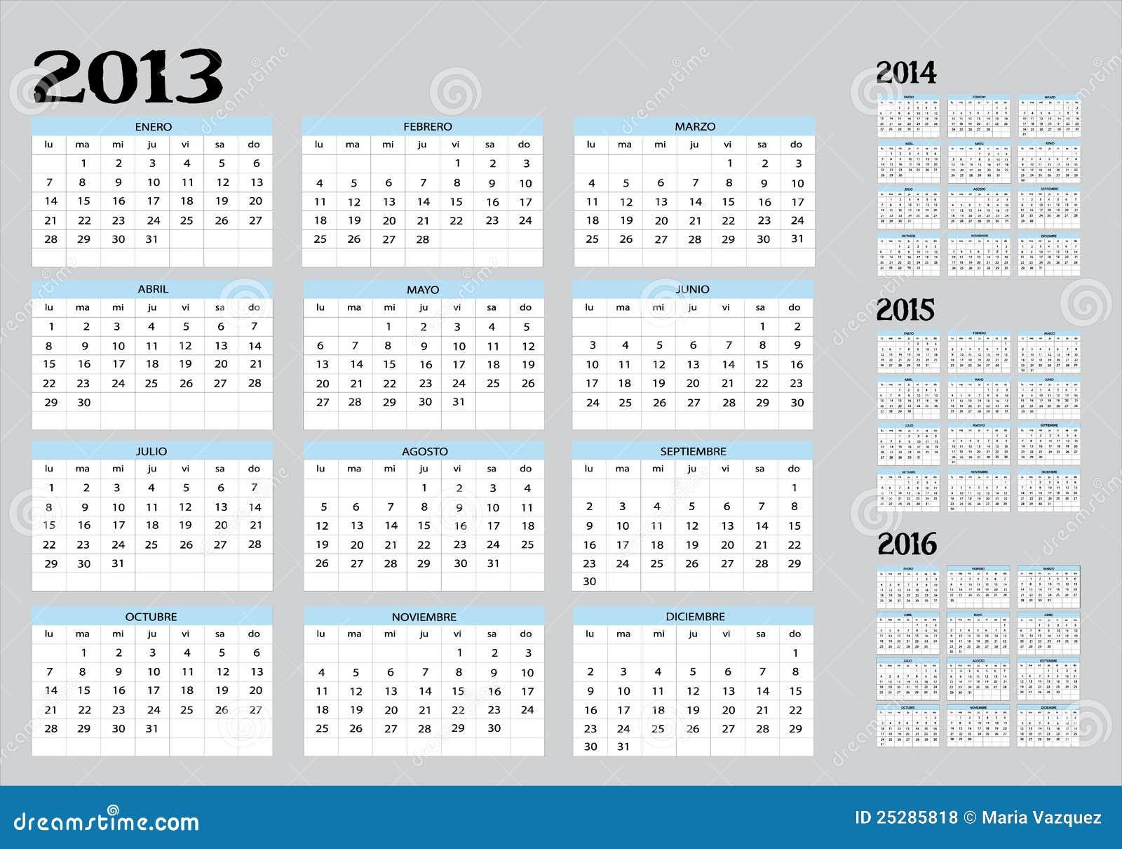 kalender von 2013 bis 2016 lizenzfreie stockfotos bild. Black Bedroom Furniture Sets. Home Design Ideas