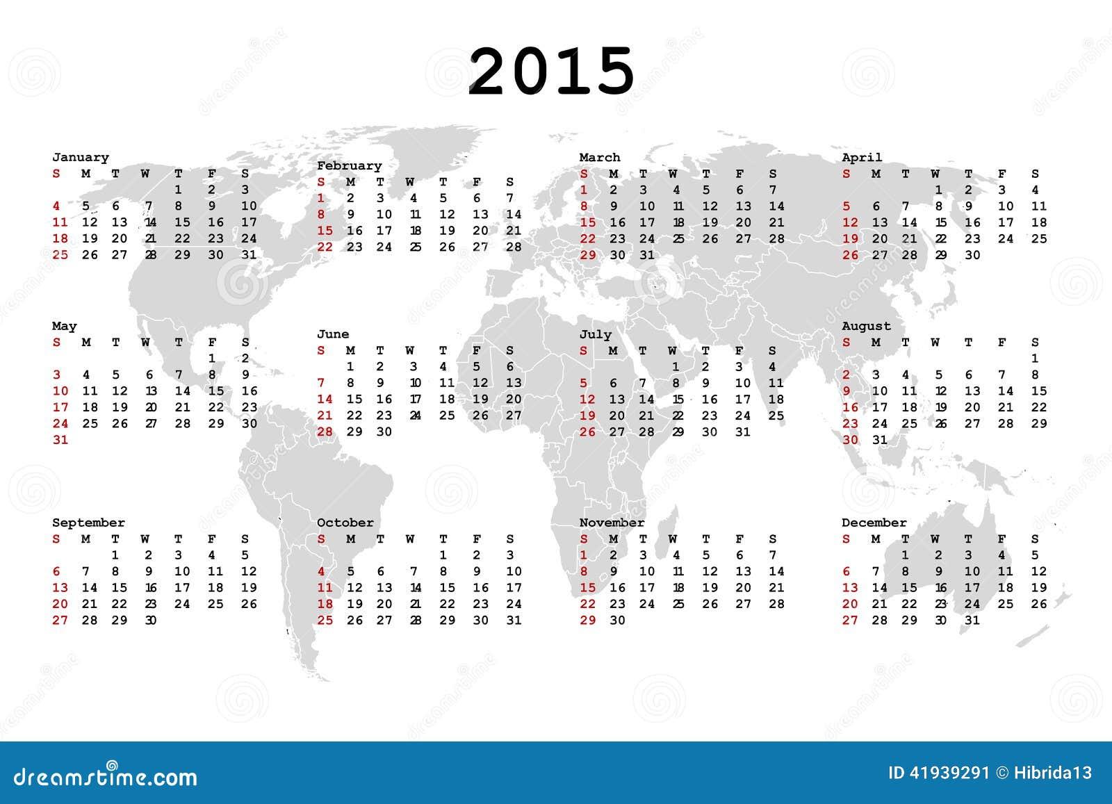 2015 kalender voor agenda met wereldkaart vector for Calendario 2015 ministerio del interior