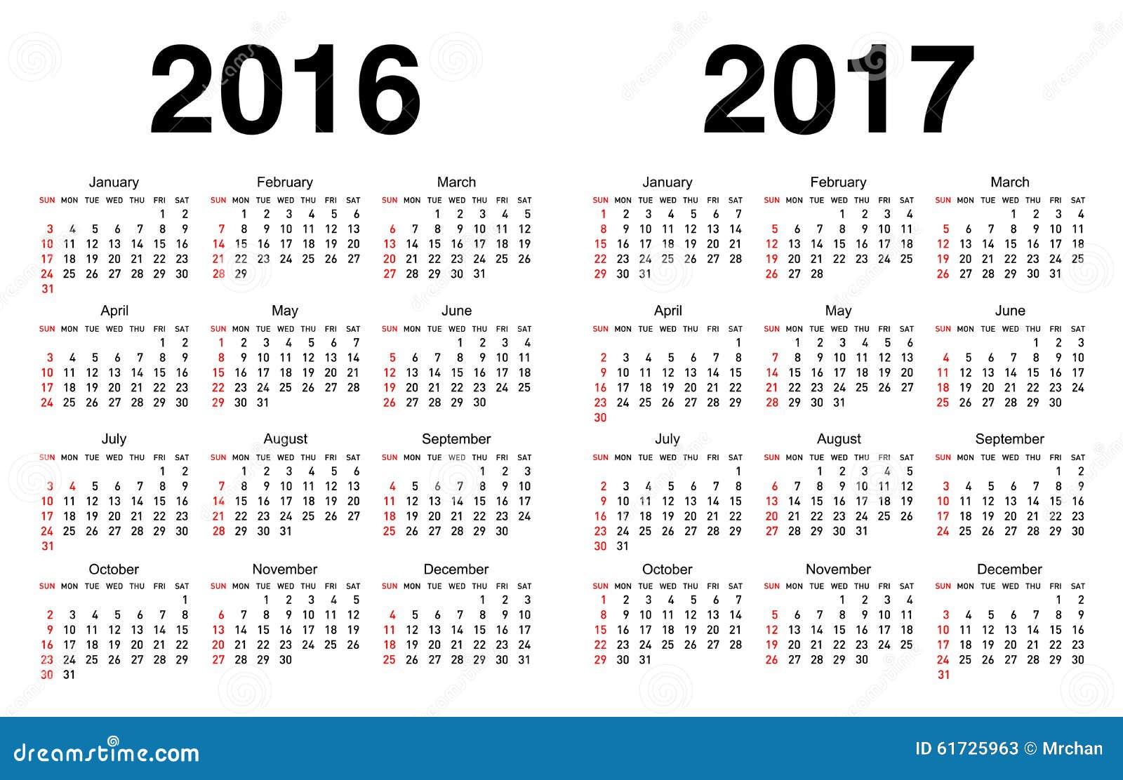kalender voor 2016 en 2017 vector illustratie afbeelding 61725963. Black Bedroom Furniture Sets. Home Design Ideas