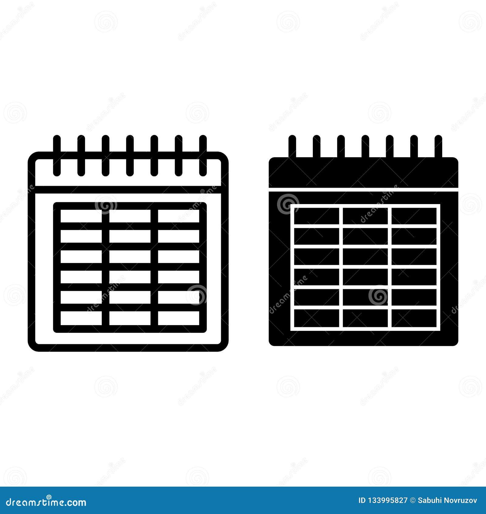 Kalenderlijn en glyph pictogram Datum vectorillustratie die op wit wordt geïsoleerd De stijlontwerp van het maandoverzicht, voor
