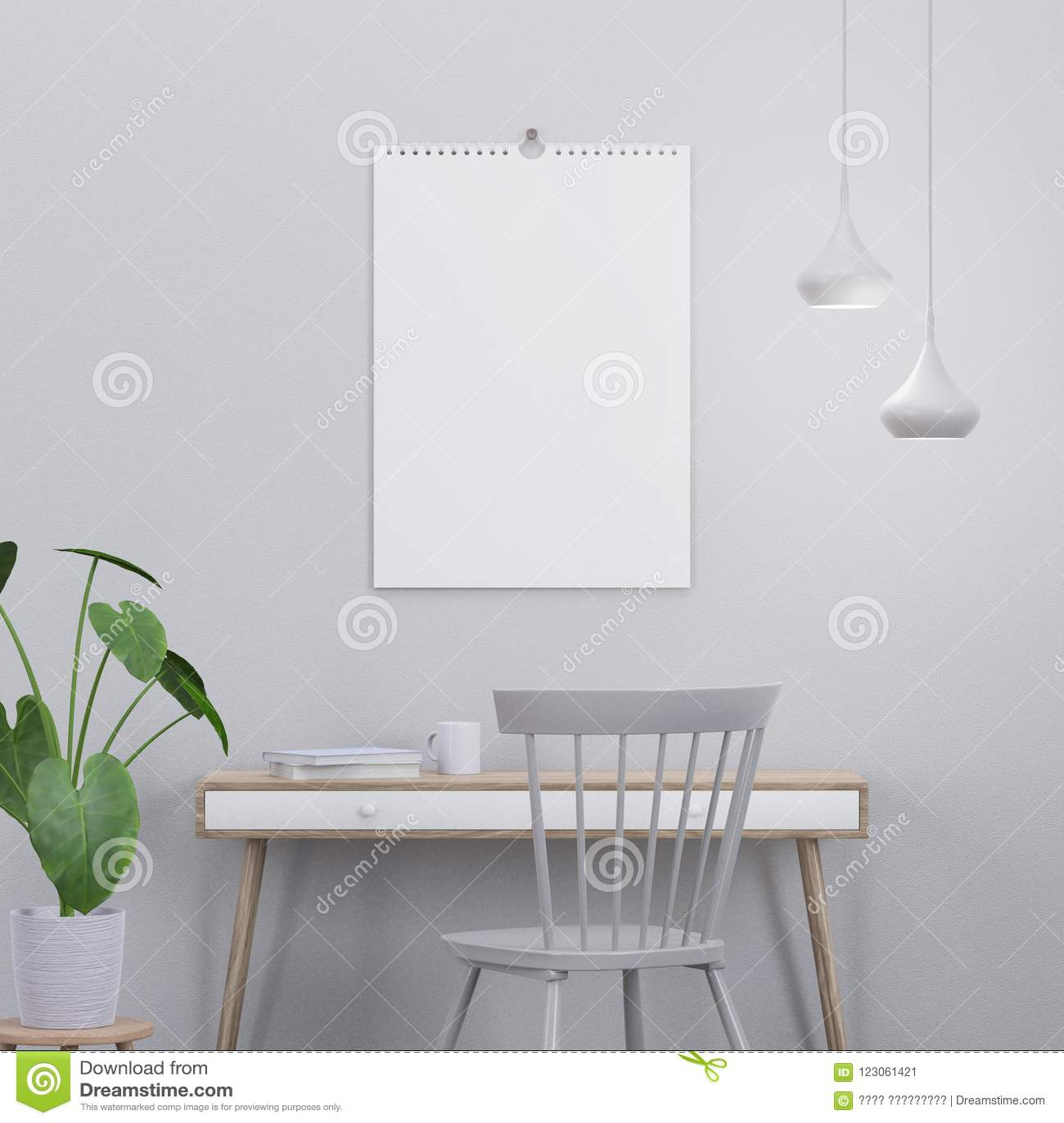 Kalendermodell im modernen Innenraum mit einer Konsole und einem Stuhl, 3D übertragen
