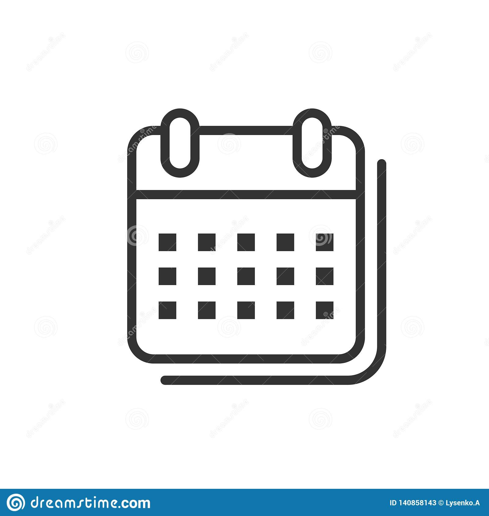 Kalenderorganisatörsymbol i plan stil Illustration för tidsbeställningshändelsevektor på vit isolerad bakgrund Månadstopptidaffär