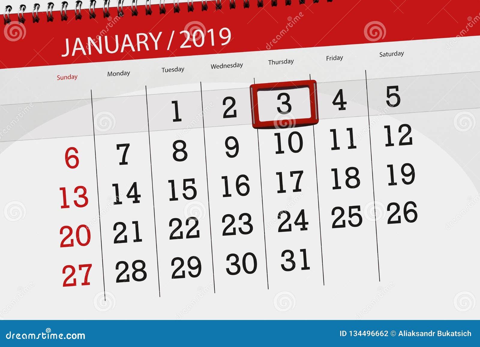 Kalenderstadsplanerare för månaden januari 2019, stopptiddag, 3, torsdag