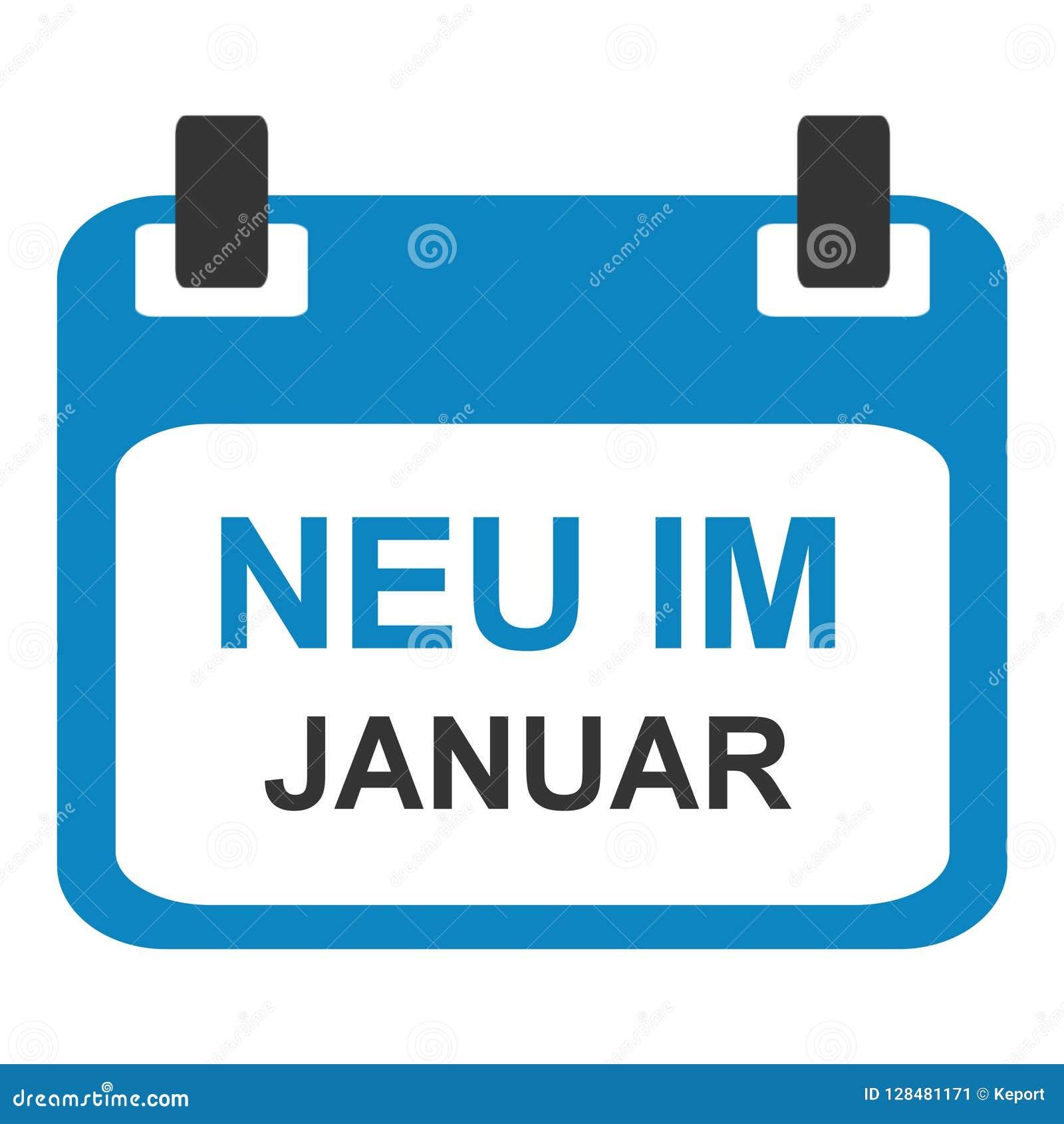 Kalendersymbol: Nytt i Januari tysk