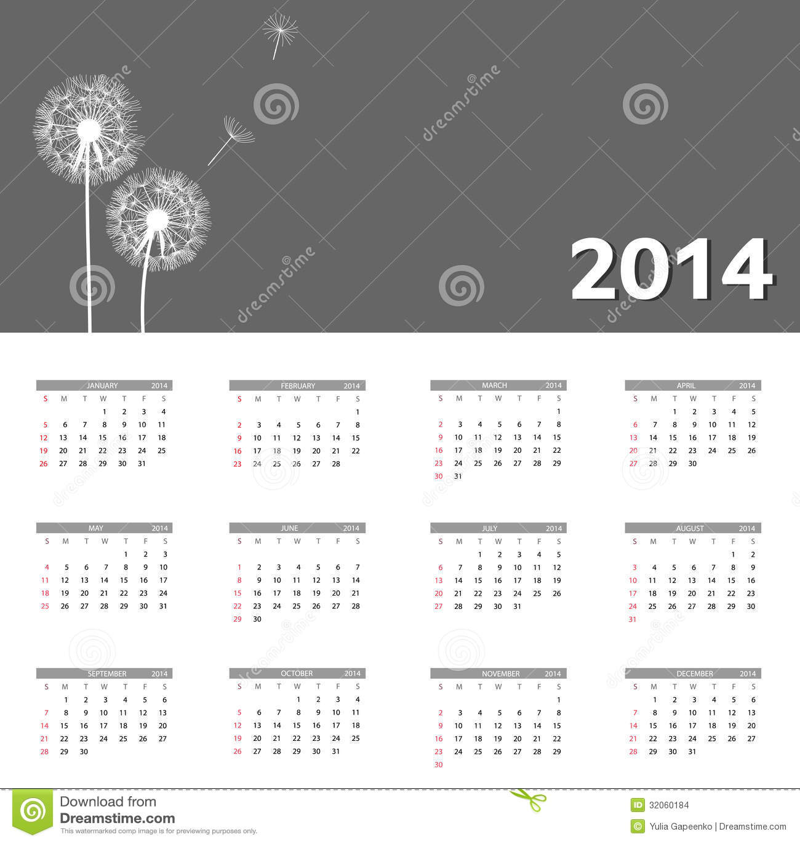 Kalendervektorillustration des neuen Jahres 2014