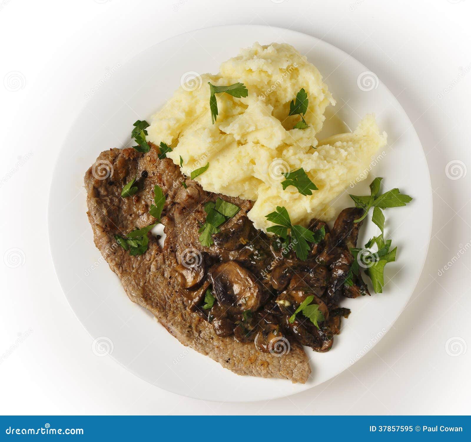 Kalfsvlees escalope maaltijd van hierboven