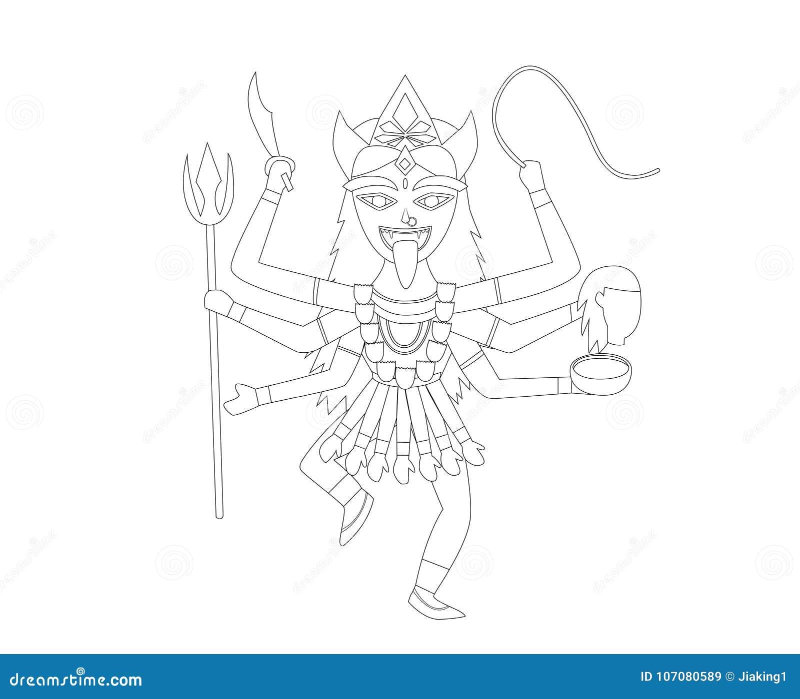 Kali En El Estilo Del Esquema Para Colorear, Vector Ilustración del ...