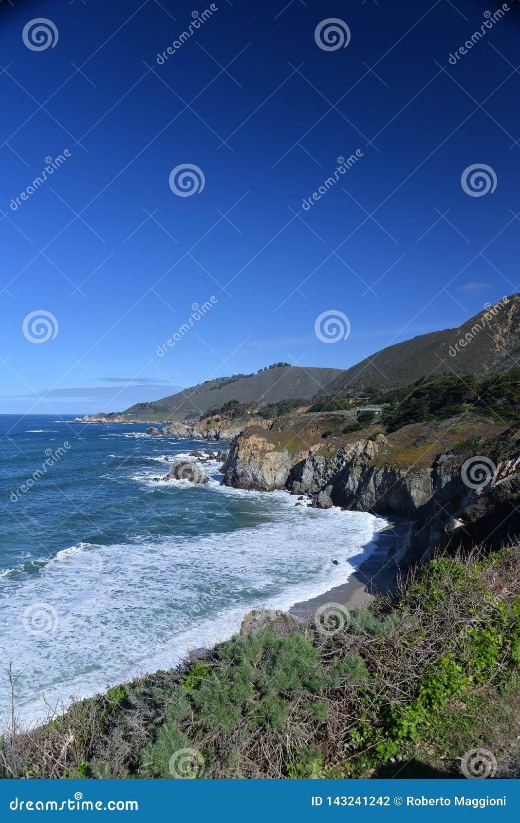 Kalifornia centrali wybrzeża plaża Big Sur, usa