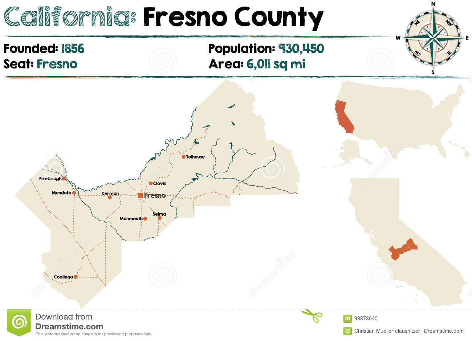 Kalifornien Karte.Kalifornien County Karte Vektor Abbildung Illustration Von Bunt