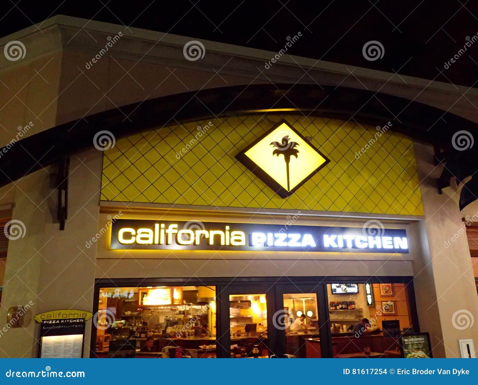 Kalifornien-Pizza-Küchen-Logo Glüht Oben Von Der ...