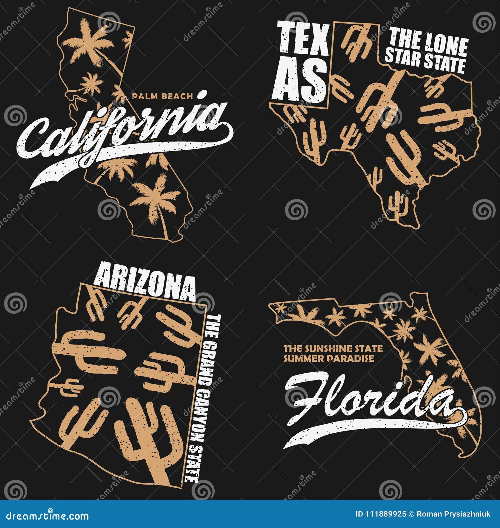 Florida Karte Drucken.Kalifornien Texas Arizona Und Florida Typografiegraphiken