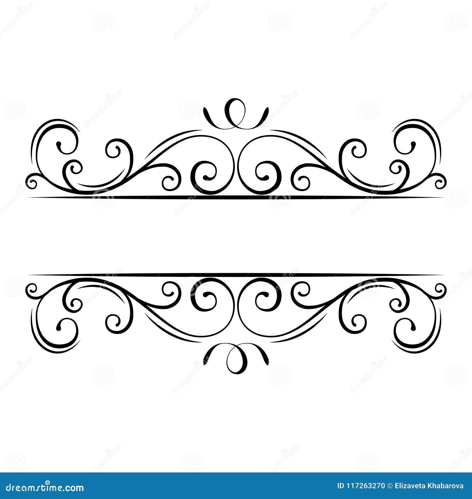 Kaligraficzna zawijas rama rabatowy dekoracyjny ozdobny Zawijasy, kędziory, ślimacznica projekta filigree elementy wektor