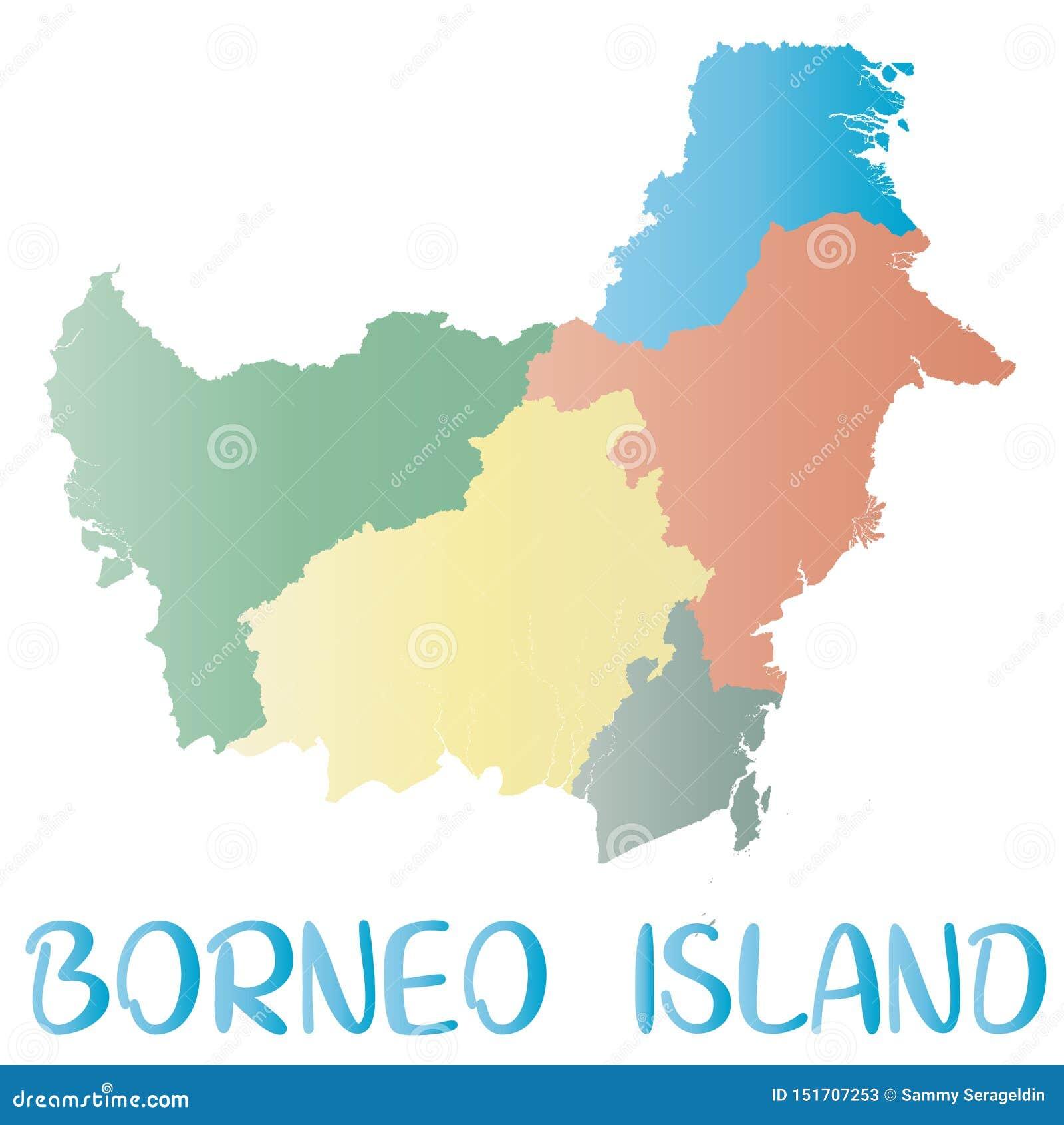 Borneo Island: Kalimantan Island Map. Islands Silhouette Icon. Isolated