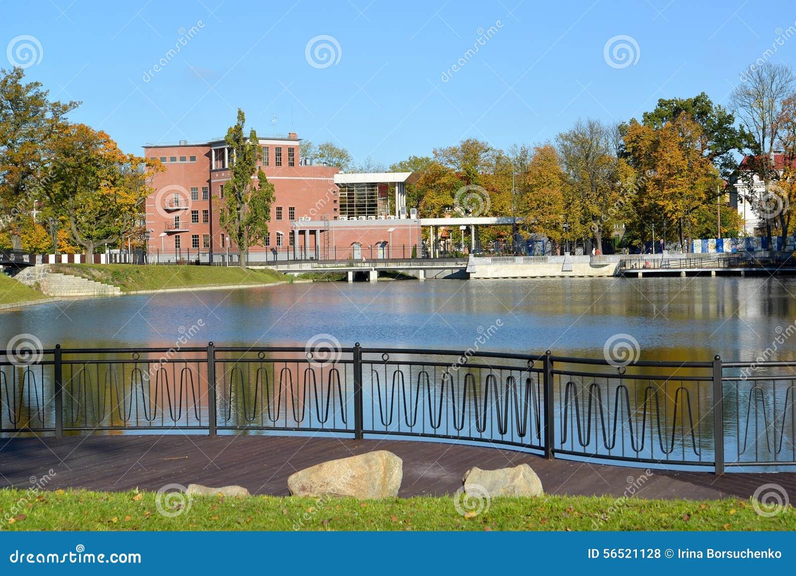 Kaliningrad embankment of the grain lake pond float in for Design of pond embankment