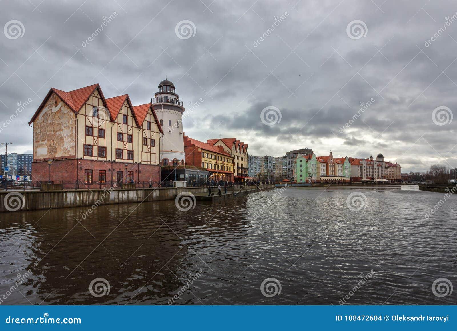 Kaliningrad, federacja rosyjska - Styczeń 4, 2018: Rybołówstwo wioska na Pregolya rzece