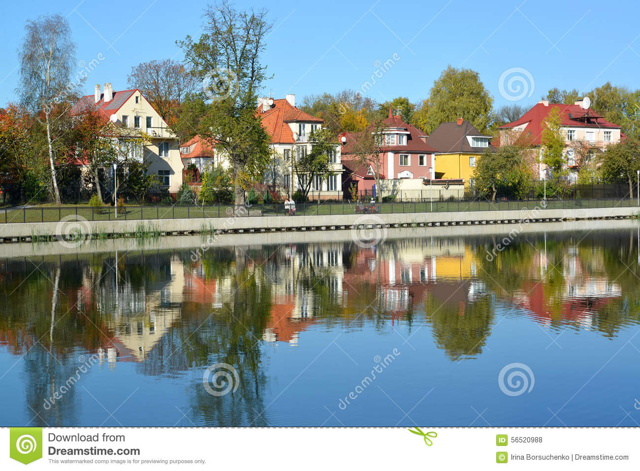 Kaliningrad panorama of the autumn embankment of the for Design of pond embankment