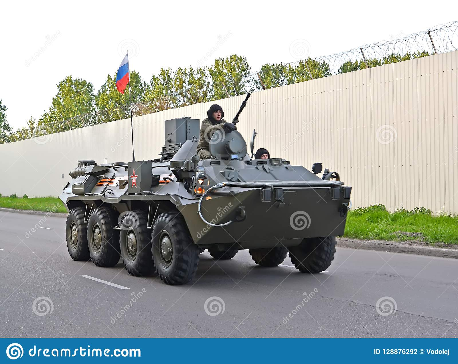 KALININGRAD, RUSSIA. The armored personnel carrier-82A BTR-82A of marines goes to a parade rehearsal in honor of the Victory Day