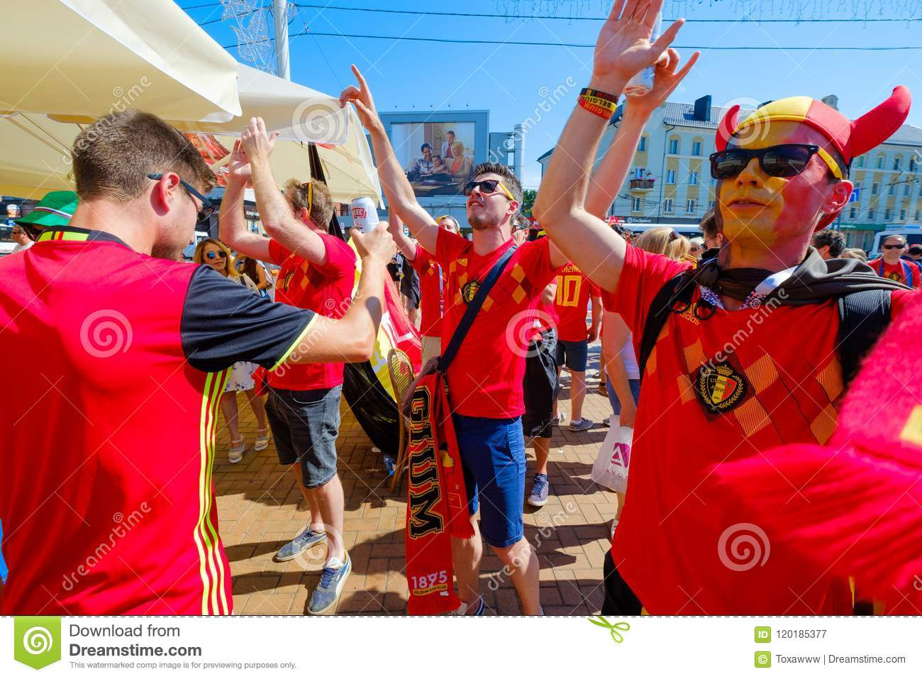 Football Fans Support Teams On The Street Of The City On ...