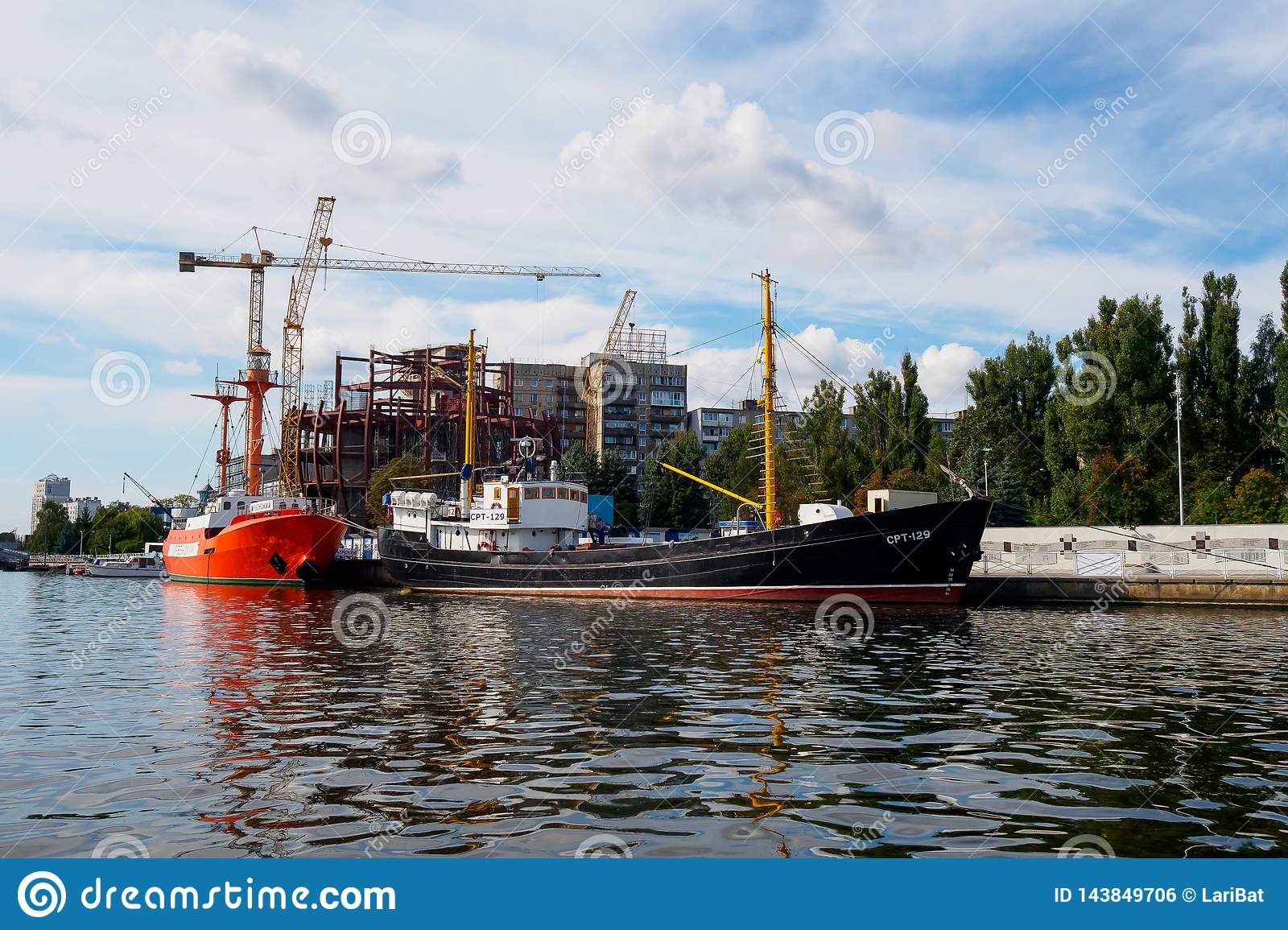 Kaliningrad, Russia - September 10, 2018: Exhibits of the Museum of the World Ocean at the pier against the background of the