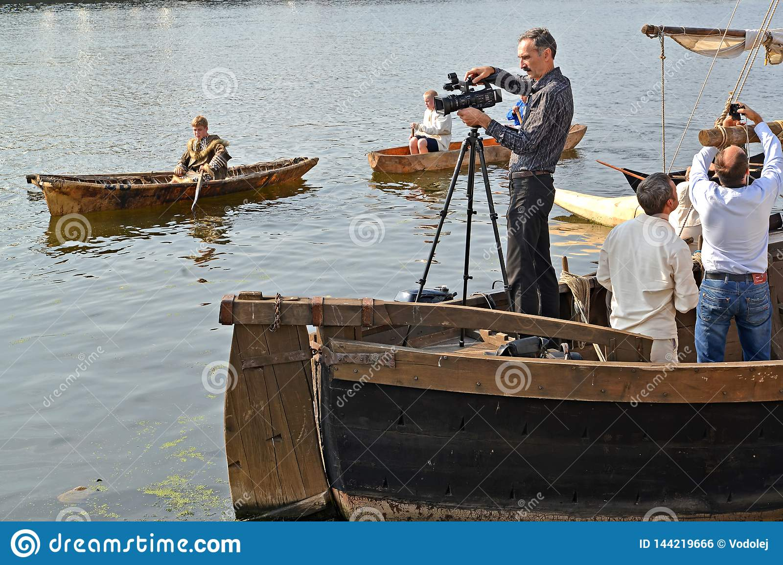 KALININGRAD, RUSSIA. The video operator behind work during the holiday `Water Assembly`. Pregolya River