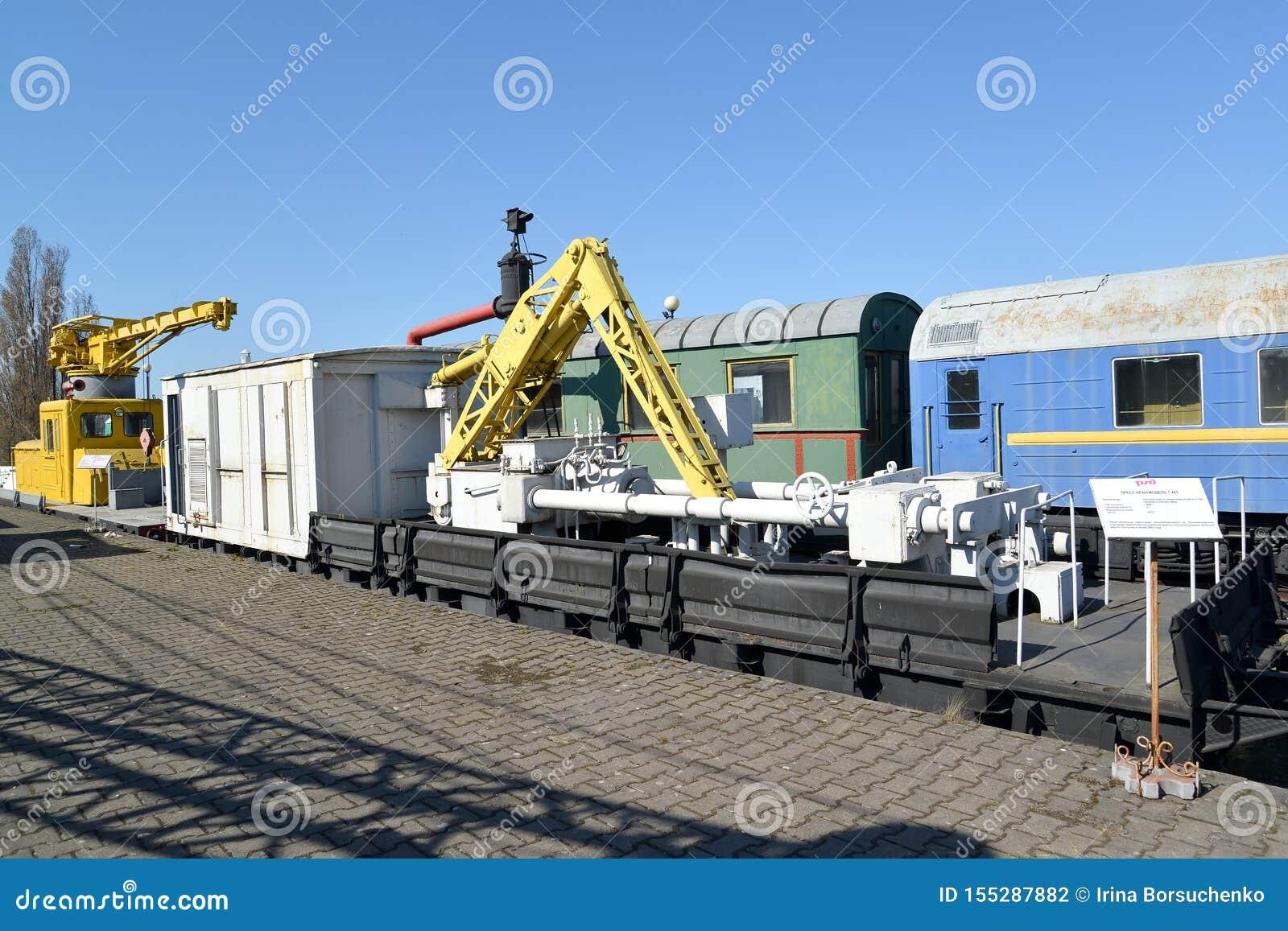 Kaliningrad Ryssland Järnväg presskranmodell T 403 Museum av historia av den Kaliningrad järnvägen