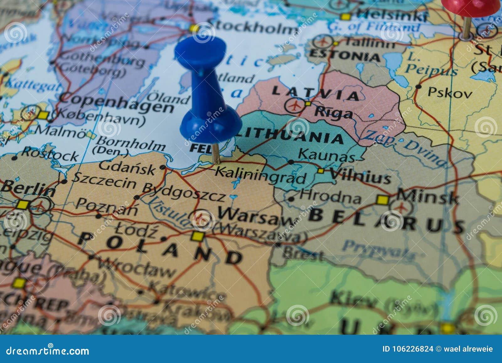Königsberg Kaliningrad Karte.Kaliningrad Stadt Steckte Auf Eine Karte Von Russland Unter Anderen