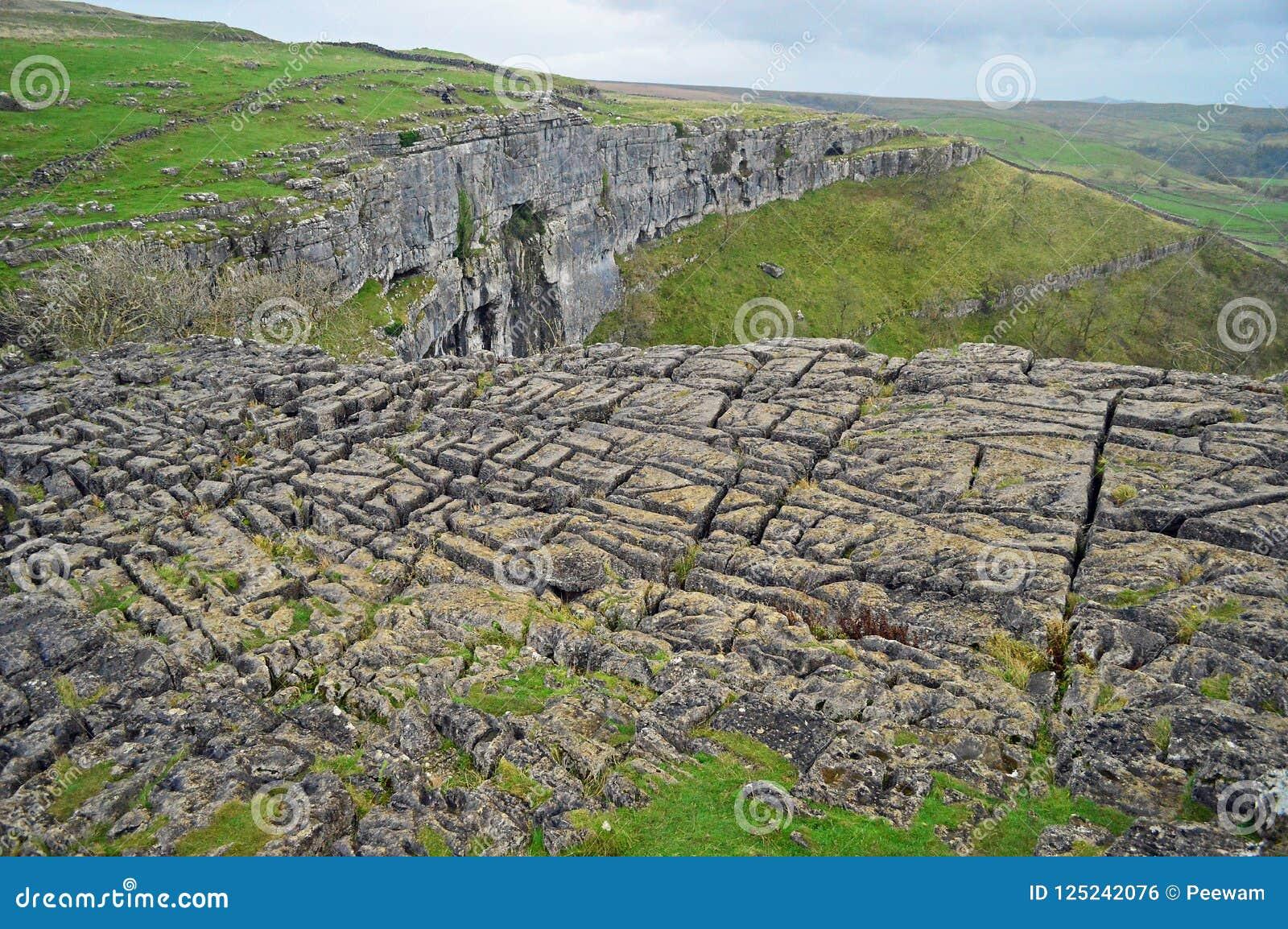 Kalksteenbestrating boven malhaminham Yorkshire het UK