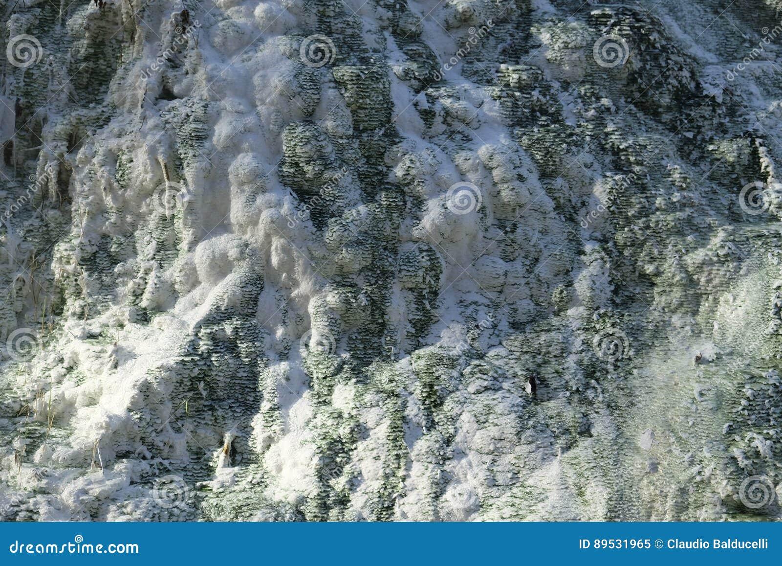 Kalksteenvormingen bij de hete lentes