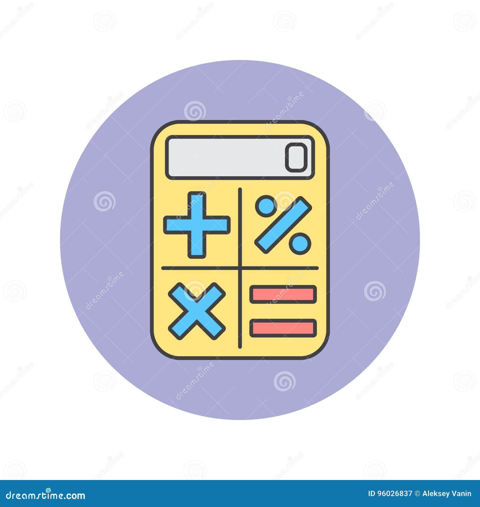 Kalkulator cienka kreskowa ikona, wypełniający konturu loga wektorowy illustrati