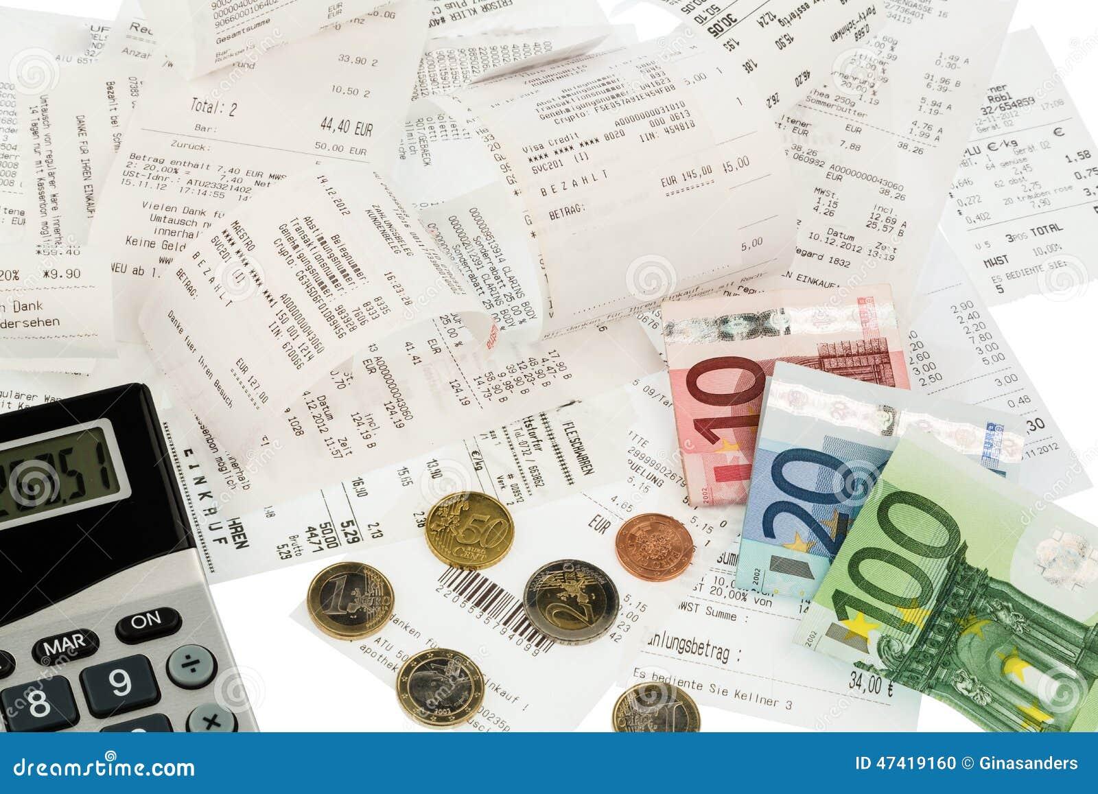 Kalkulator, kwity, rachunki