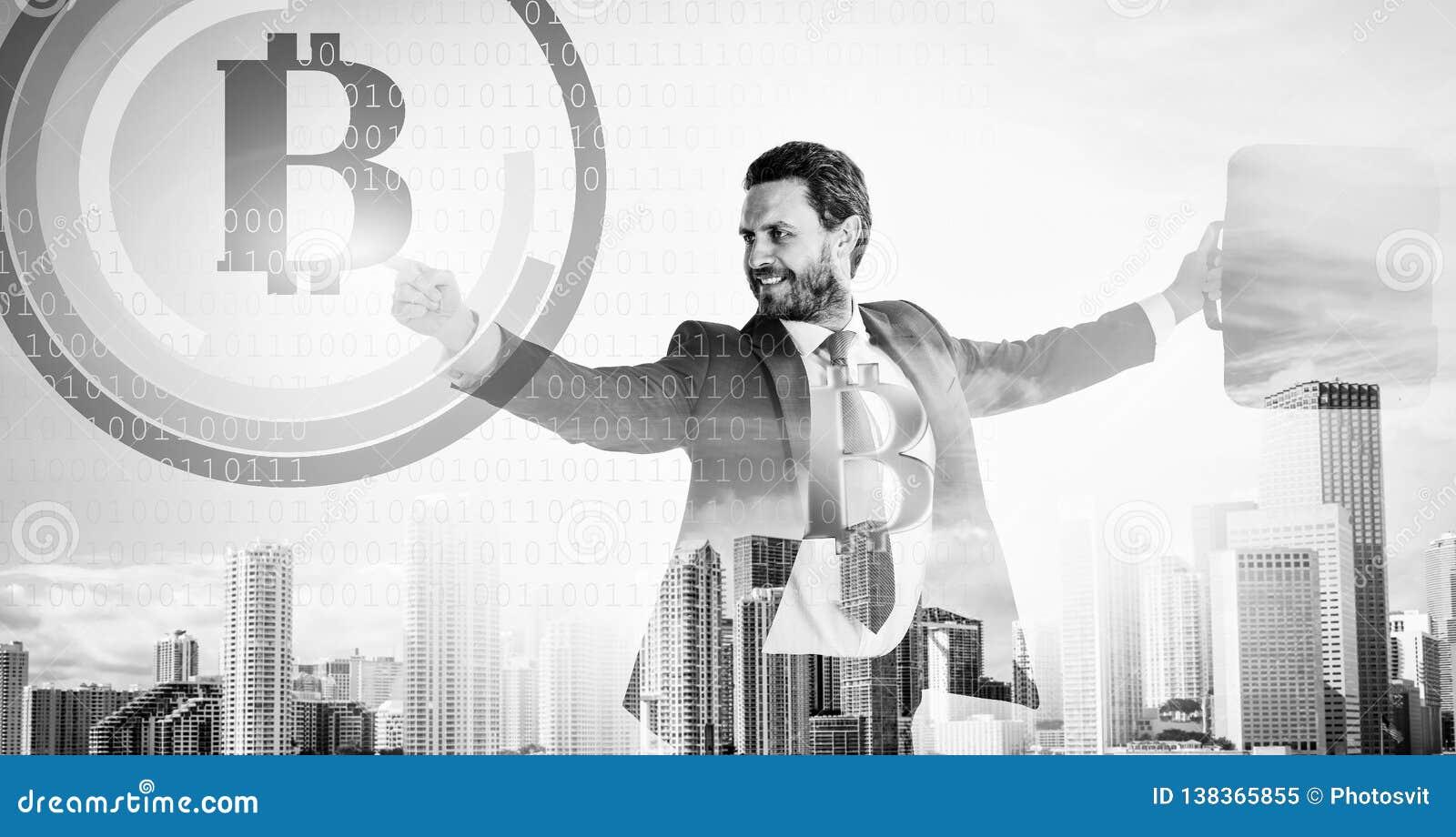 Kalkuluje bitcoin górniczą dochodowość Biznesmena antrakta waluty cyfrowy nawierzchniowy crypto bitcoin Cyfrowego biznes