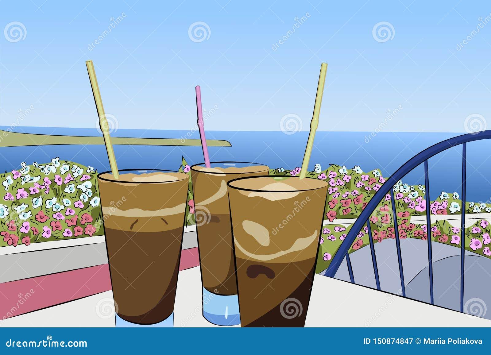 Kall kaffefrappe på bakgrunden av havspanoraman