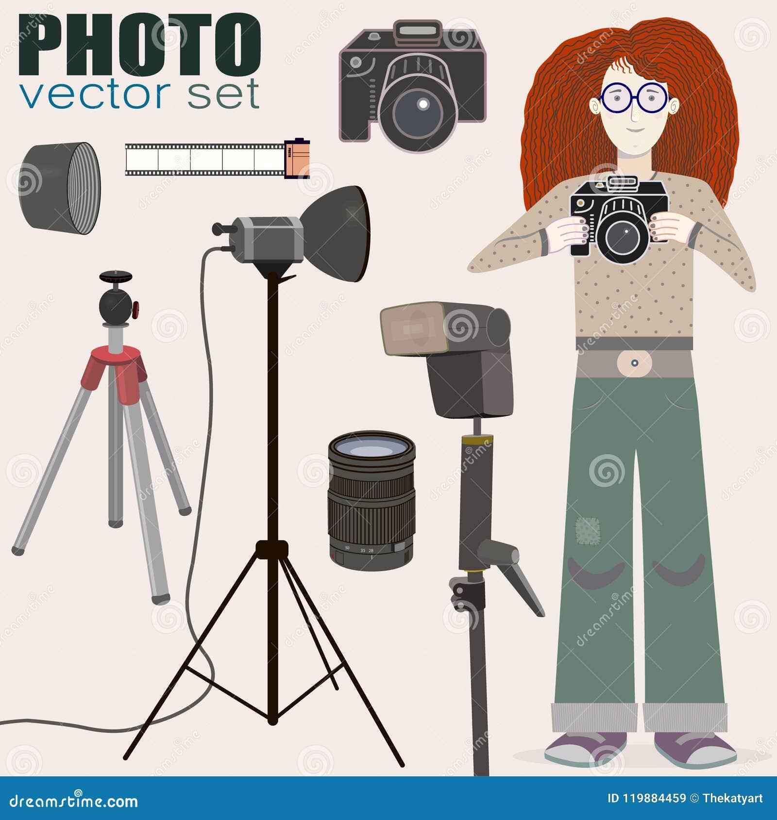 Kall vektoruppsättning av fotoutrustning och en bonus - rödhårig flickafotograf