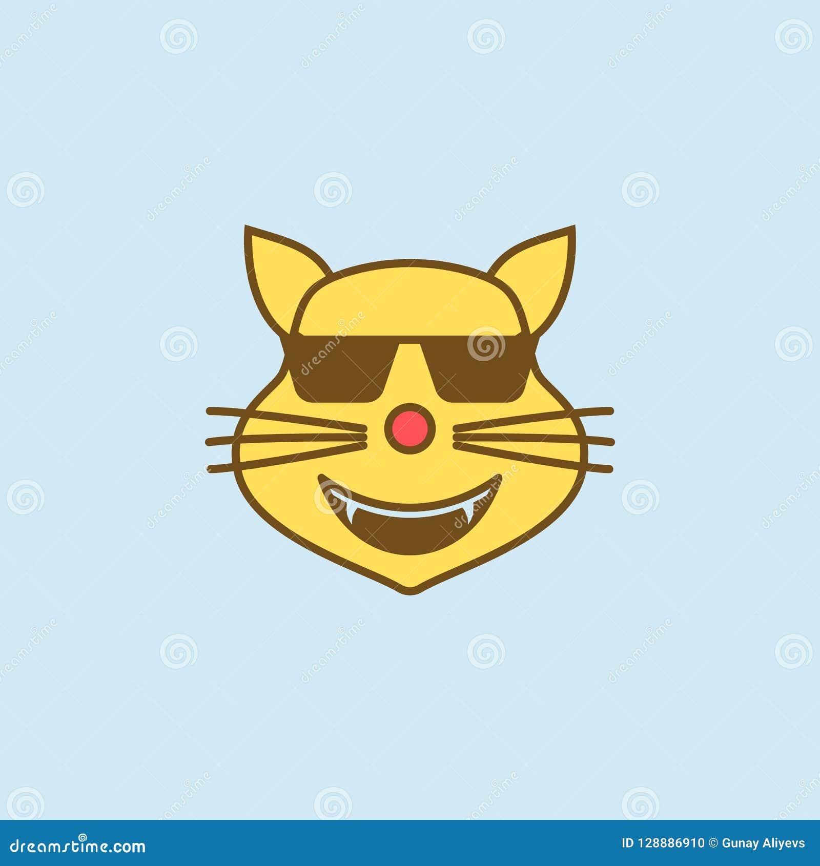 Kalla färgad linje symbol för katt 2 Enkel guling- och bruntbeståndsdelillustration kall design för symbol för kattbegreppsöversi