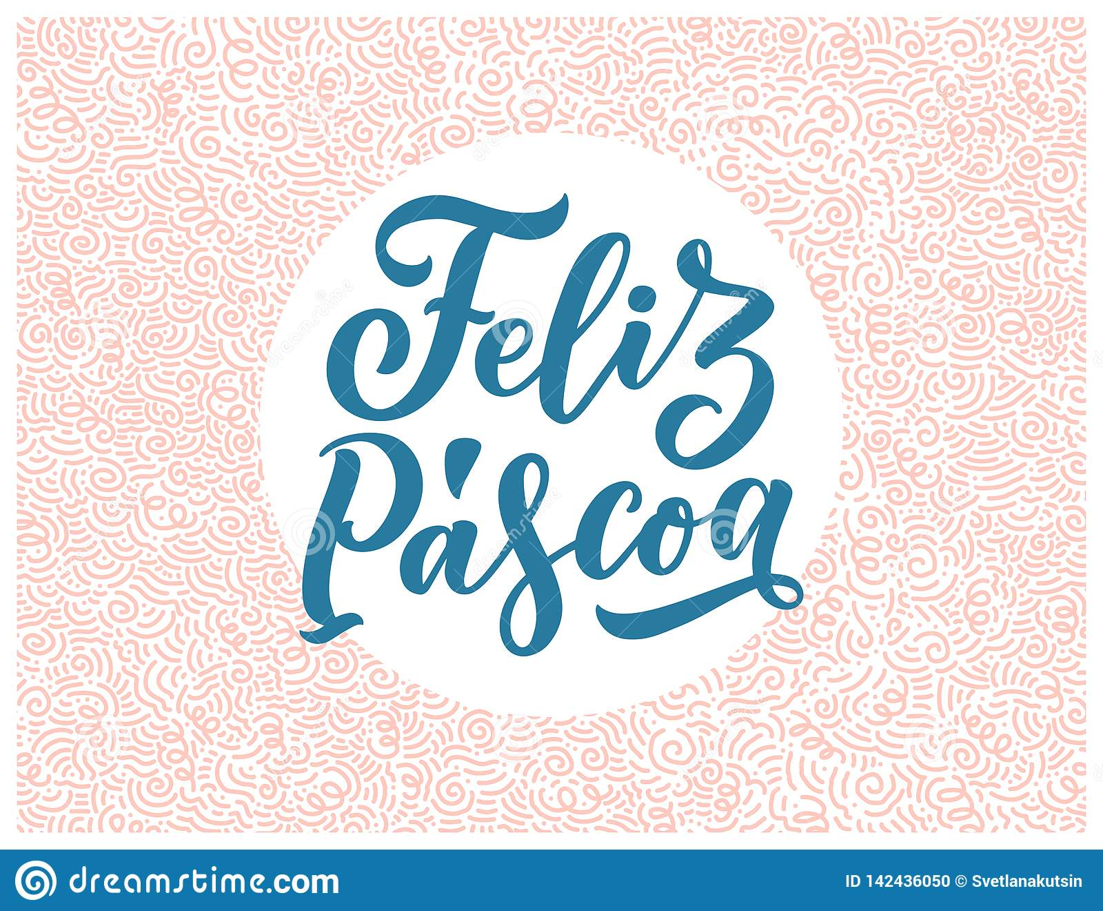 Kalligrafie het van letters voorzien voor vliegerontwerp - Gelukkige Pasen in Spaanse taal Vector illustratie Malplaatjebanner, a