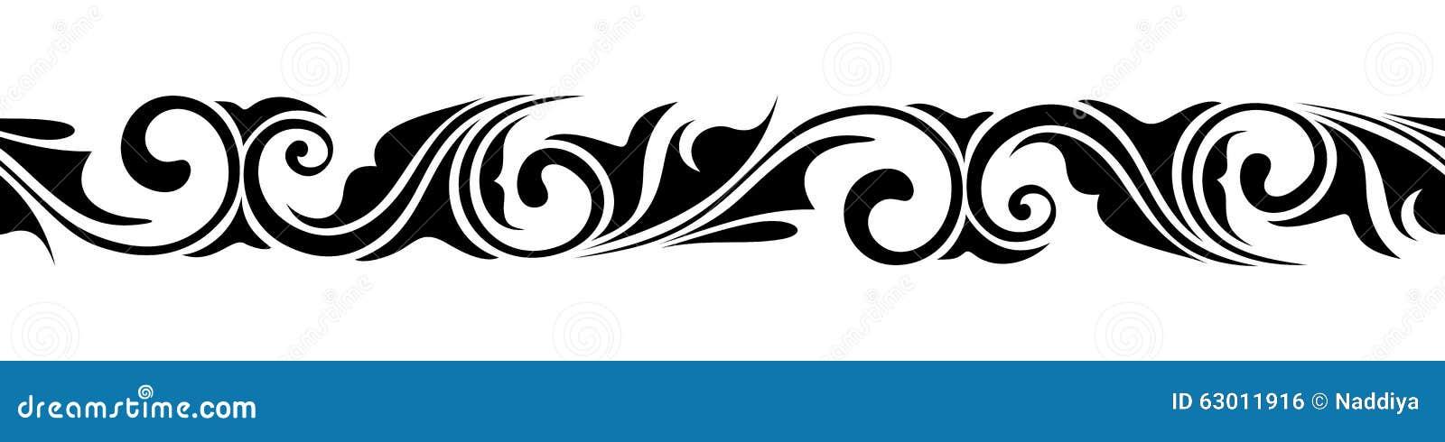 Kalligrafisch horizontaal naadloos vignet Vector illustratie