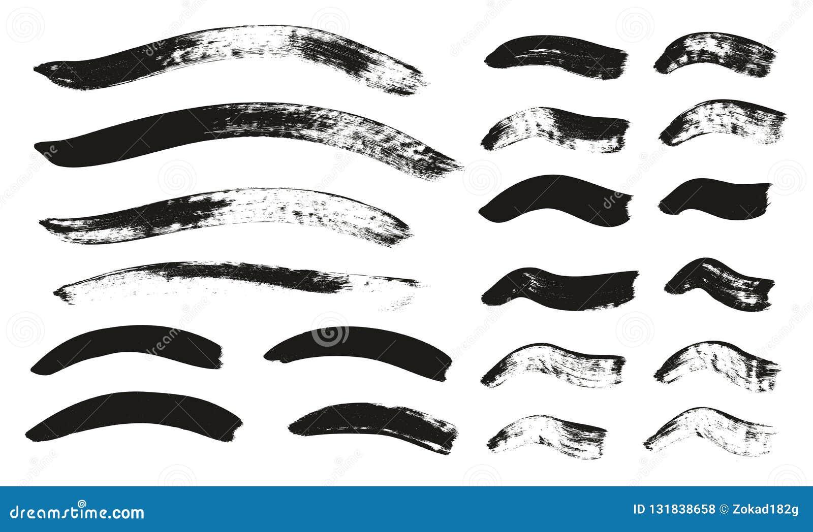 Kalligraphie-Pinsel-gekrümmte Linien führen hoch abstrakten Vektor-Hintergrund einstellten 119 einzeln auf