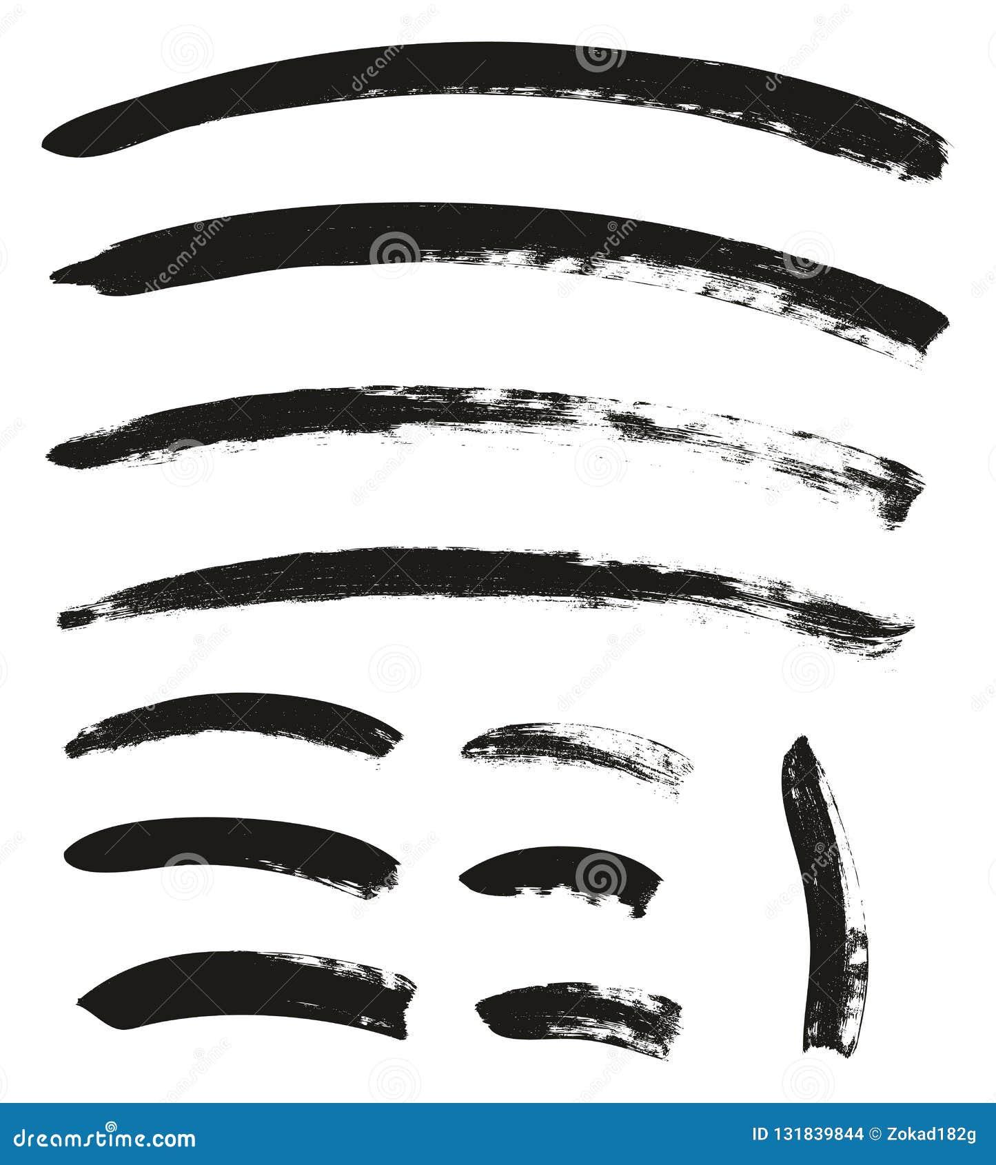 Kalligraphie-Pinsel-gekrümmte Linien führen hoch abstrakten Vektor-Hintergrund einstellten 108 einzeln auf