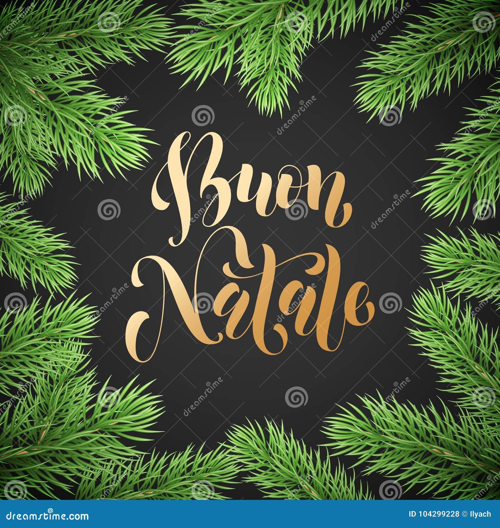 Kalligraphietext Feiertags Buon Natale Italian Merry Christmas ...