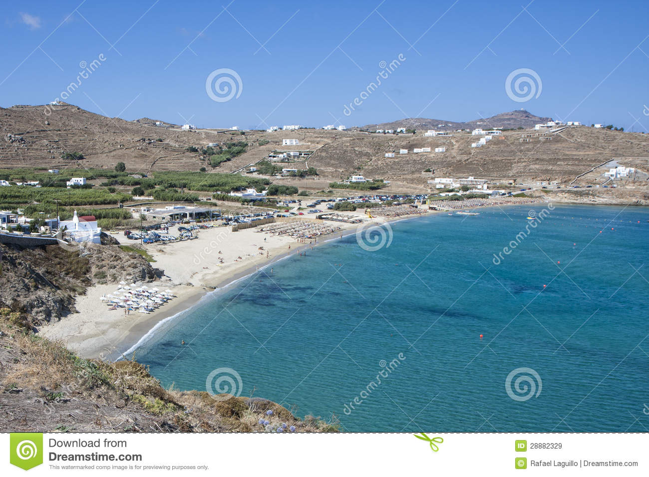 Kalo Livadi Beach In Mykonos Island Royalty Free Stock ...